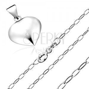 Naszyjnik ze srebra 925 - wisiorek w postaci trójwymiarowego serca, lśniący łańcuszek obraz