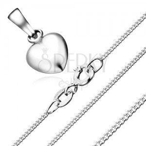 Naszyjnik - symetryczne serce i łańcuszek ze skręconych ogniw, srebro 925 obraz