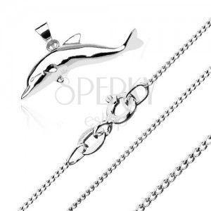 Naszyjnik ze srebra 925 - duży skaczący delfin, łańcuszek z drobnych skręconych ogniw obraz