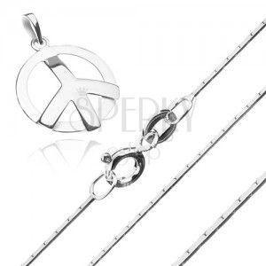 Srebrny naszyjnik 925 - kanciasty łańcuszek i symbol pokoju obraz