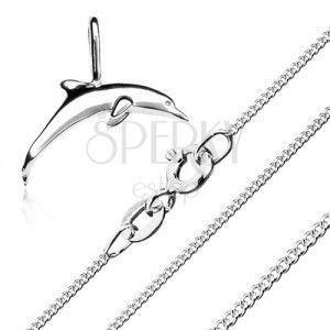 Naszyjnik - łańcuszek z drobnych ogniw i wisiorek w postaci delfina, srebro 925 obraz