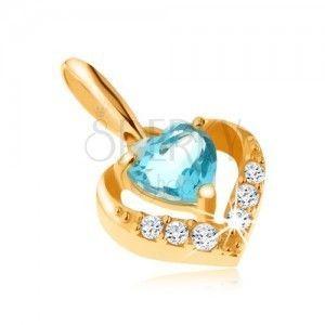 Złoty wisiorek 375 - cyrkoniowy zarys serca, niebieski serduszkowy topaz obraz