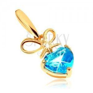 Złoty wisiorek 375 - kokardka i serduszkowy topaz w niebieskim odcieniu obraz