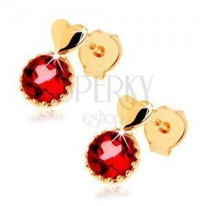 Kolczyki z żółtego złota 9K, małe wypukłe serce, okrągły czerwony granat obraz