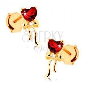 Kolczyki z żółtego złota 9K - czerwone serce z granatu, lśniąca kokardka obraz