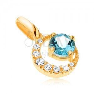 Wisiorek z żółtego złota 14K, cyrkoniowy sierp księżyca, okrągły niebieski topaz obraz