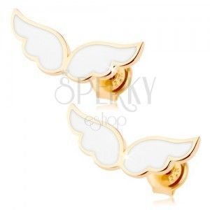 Złote kolczyki 375 - anielskie skrzydła ozdobione białą emalią, wkręty obraz