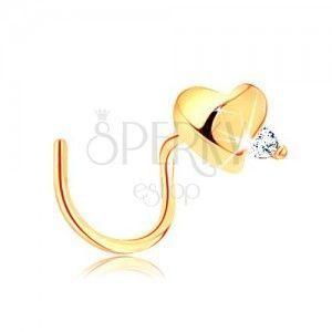 Piercing do nosa z żółtego 14K złota, zagięty - cyrkonia bezbarwnego koloru obraz