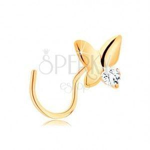 Zagięty piercing do nosa z żółtego złota 585 - mały lśniący motylek obraz