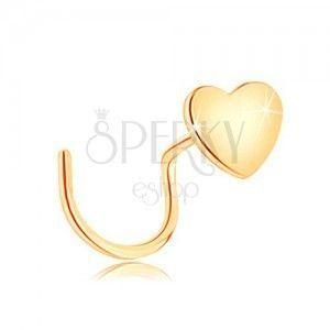 Piercing do nosa z żółtego 14K złota, zagięty - małe płaskie serduszko obraz