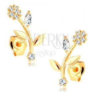 Kolczyki z żółtego 14K złota - kwiat z zagiętą łodygą, przezroczyste cyrkonie obraz