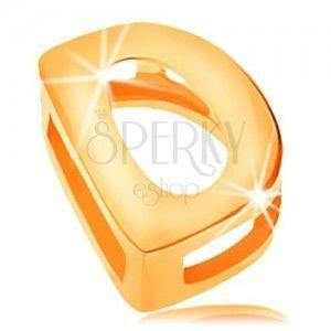 Lśniąca zawieszka z żółtego złota 585, drukowana litera D, gładka powierzchnia obraz
