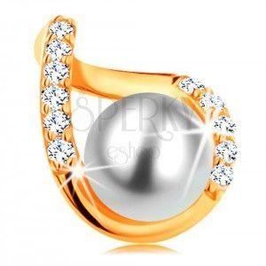 Zawieszka z żółtego 14K złota - falisty zarys kropelki z cyrkoniami i białą perłą obraz