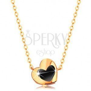Naszyjnik z żółtego 14K złota - lśniące serduszko z czarną emalią, łańcuszek obraz