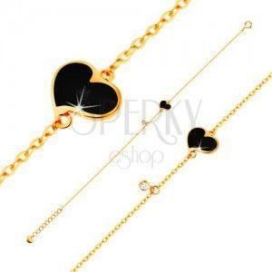 Złota bransoletka 585 - czarne asymetryczne serce i bezbarwna cyrkonia, cienki łańcuszek, 180 mm obraz
