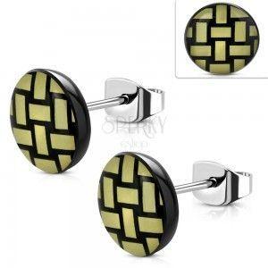 Kolczyki ze stali 316L, akrylowe kółko z żółto-czarnym plecionym wzorem, 10 mm obraz