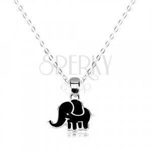Naszyjnik ze srebra 925 - błyszczący łańcuszek, słoń ozdobiony czarną emalią obraz