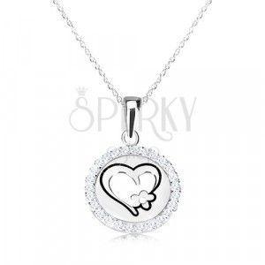 Naszyjnik ze srebra 925 - okrągła zawieszka z sercem i kwiatem, delikatny łańcuszek obraz