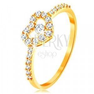 Złoty pierścionek 375 - cyrkoniowe ramiona, błyszczący przezroczysty zarys serca z cyrkonią obraz
