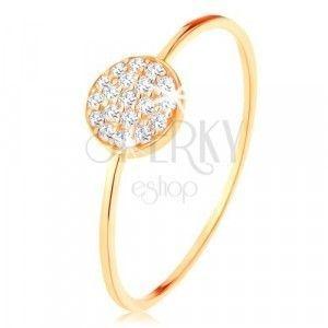 Złoty pierścionek 375 - cienkie lśniące ramiona, krążek wyłożony przezroczystymi cyrkoniami obraz