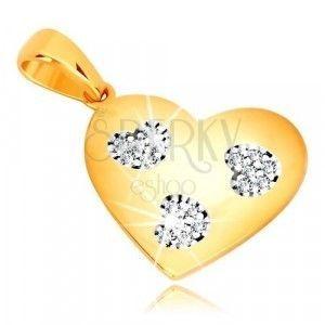 Zawieszka z żółtego złota 585 - symetryczne serce z cięciami w kształcie serca, cyrkonie obraz