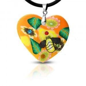 Naszyjnik Fimo - pomarańczowe serce z kwiatami i pszczółka obraz