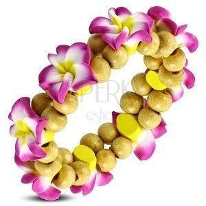 Fimo náramok na gumičke - ružový kvet s guličkami obraz