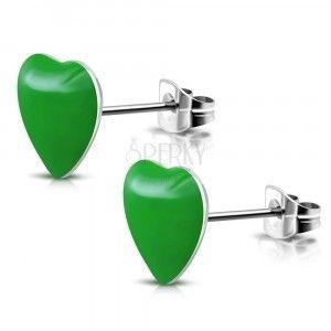 Stalowe kolczyki z zielonymi serduszkami i sztyftami obraz