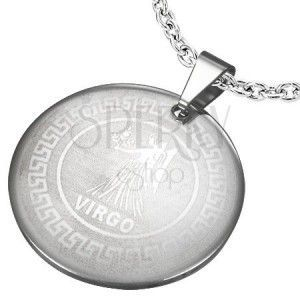 Okrągły stalowy wisiorek ze znakiem zodiaku PANNA obraz