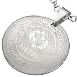 Stalowy okrągły wisiorek - znak zodiaku RYBY obraz