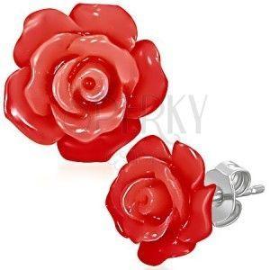 Stalowe kolczyki - czerwona różyczka z żywicy obraz