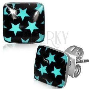 Stalowe kolczyki - niebieskie gwiazdy na czarnym kwadracie obraz