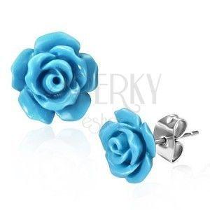 Stalowe kolczyki wkręty, błyszczące niebieskie róże obraz
