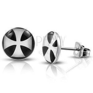 Okrągłe wkrętki ze stali antyalergicznej z białym krzyżem maltańskim obraz
