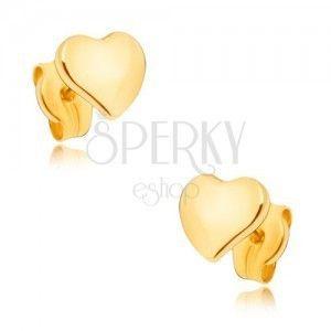 Kolczyki z żółtego złota 9K - płaskie lustrzane asymetryczne serce obraz