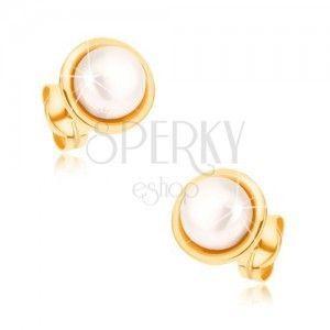 Kolczyki z żółtego złota 9K - biała okrągła perełka, cienka lamówka obraz