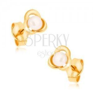 Kolczyki z żółtego 9K złota - kształt kwiatu, biała perła obraz