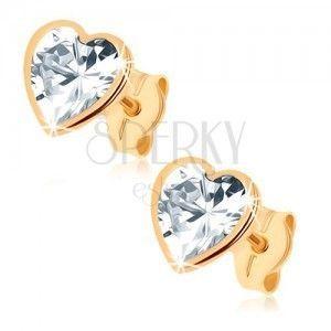 Złote kolczyki 375 - błyszczące serce z szlifowaną cyrkonią, lśniąca obwódka obraz