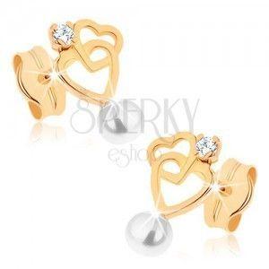 Kolczyki w żółtym złocie 9K - kontur dwóch serc, biała perełka obraz