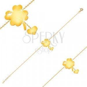 Bransoletka z żółtego 14K złota - symbol szczęścia z wycięciem serca, serce na łańcuszku obraz