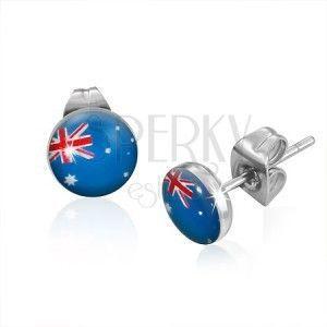 Kolczyki wkręty ze stali - flaga Australii obraz
