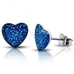 Stalowe kolczyki - niebieskie błyszczące serce, wkręty obraz