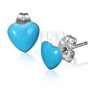 Stalowe kolczyki z niebieskimi serduszkami i sztyftami obraz