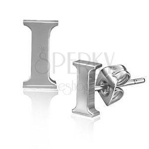 Kolczyki wkręty ze stali - drukowana litera I obraz