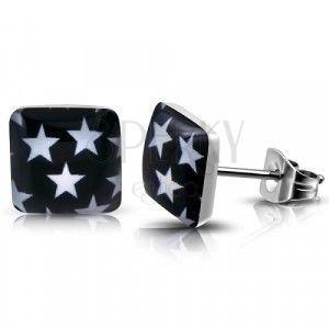 Stalowe kolczyki wkręty - kwadrat z białymi gwiazdami obraz