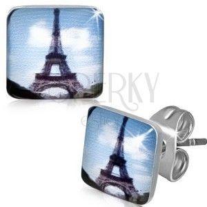 Kwadratowe stalowe kolczyki z obrazkiem wieży Eiffla obraz