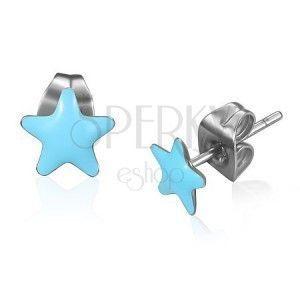 Stalowe kolczyki - niebieskie glazurowane gwiazdki obraz
