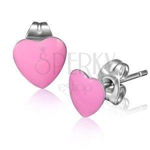 Kolczyki ze stali, różowe emaliowane serca obraz