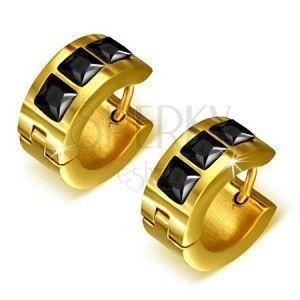 Złote okrągłe kolczyki ze stali, trzy czarne kwadratowe kamyczki obraz