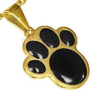 Złoty wisiorek ze stali, czarna zwierzęca łapka obraz